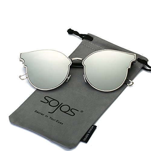 SojoS Fashion Designer Cateye Women Sunglasses Oversized Flat Mirror Lens SJ1055 With Silver Frame/Silver Mirrored - Mirror Flat