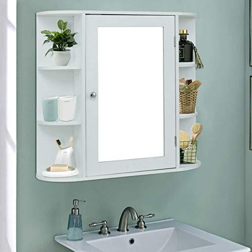 TANGKULA Bathroom Cabinet Single Door Wall Mount Mirror Organizer Storage Cabinet(4 Tier Inner Shelves) by TANGKULA