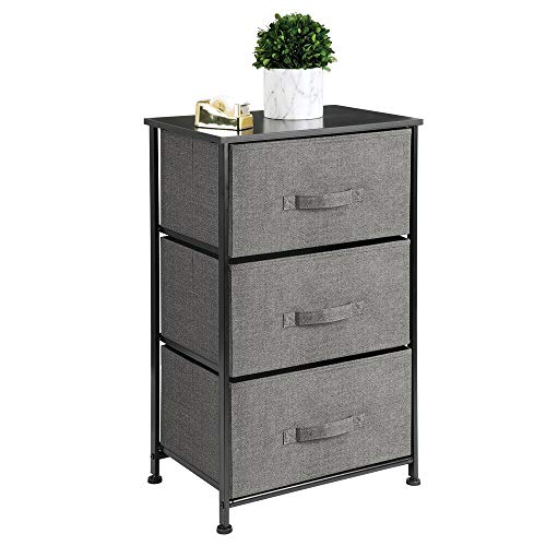 mDesign Vertical Dresser Storage Tower - Sturdy Steel Frame, Wood Top, Easy Pull Fabric Bins - Organizer Unit for Bedroom, Hallway, Entryway, Closets - Textured Print - 3 Drawers, Charcoal Gray/Black