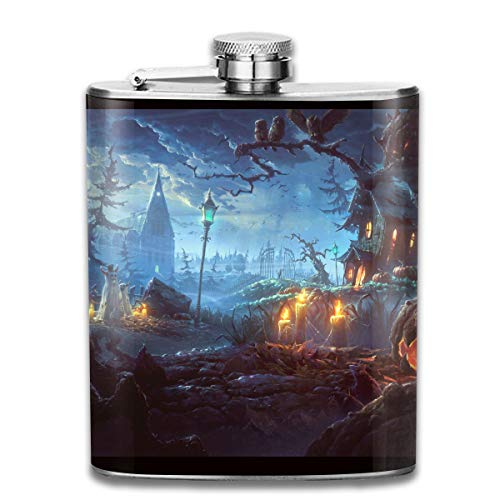 FTRGRAFE Halloween Themed Wallpaper Outdoor Portable 304 Stainless Steel Leak-Proof Alcohol Whiskey Liquor Wine 7OZ Pot Hip Flask Travel Camping Flagon for Man Woman Flask Great Little Gift -