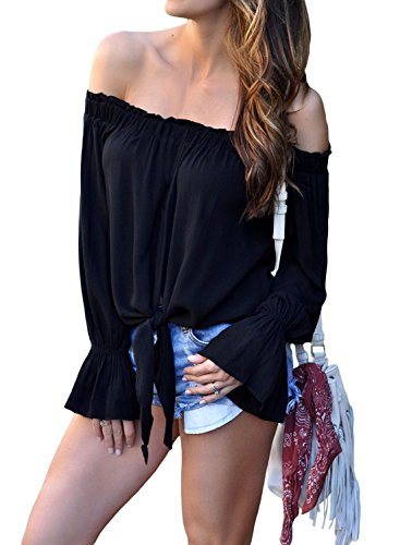 Women's Off Shoulder 3/4 Flared Sleeve Blouses Plus Size Tie Front Ruffle Shirts Strapless Cute Tops Black XXL