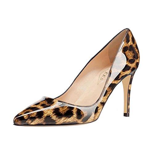 EKS Damen Spitze Middle Heels Pumps Leopard-Lackleder