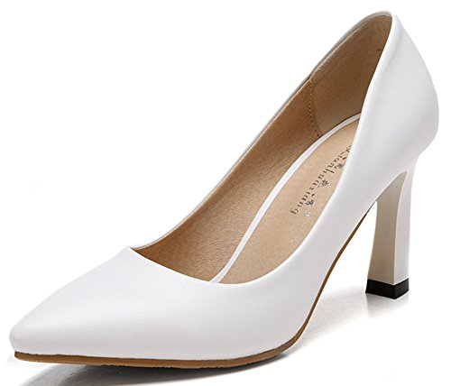 IDIFU Womens Dressy Chunky High Heel Pointy Toe Pumps Low Top Slip On Work Shoes White Op7wyP3