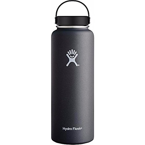 Hydro Flask 40 oz Wide Mouth Insulated Stainless Steel Water Bottle,Double Wall Vacuum Insulated,Keeps Hot 12 Hours Keep Cold 24 Hours,BPA-Free (Black Butte) by Hydro Flask