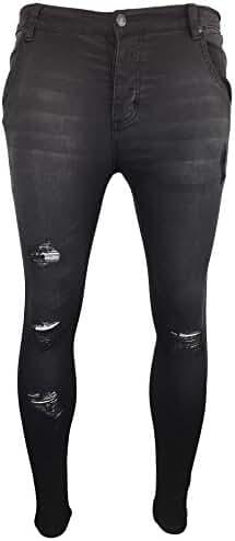 Sik Silk Men's Skinny Distressed Low Rise Jeans, Grey