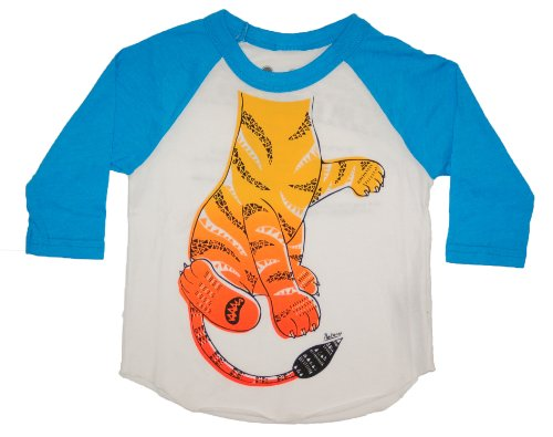 Child Tiger Costume At Zoo (Peek A Zoo Toddler Become an Animal 3/4 Sleeve Raglan - Tiger Turquoise - 4T)