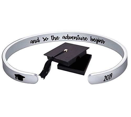 Graduation Gift for Women Cuff Bangle Bracelet Stainless Steel Engraved 2019 Graduation Cap Keep Fucking Going Inspirational Bracelet (and So The Adventure Begins)]()
