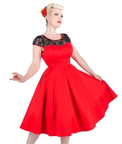 Party Schwarz Vintage NEU amp;R Rot Style 1950s Kleid Spitze H 60s Rockabilly 75qCa