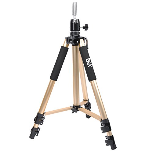 GEX Heavy Duty Canvas Block Head Tripod Cosmetology Training Doll Head Stand Mannequin Manikin Head Tripod Wig Stand With Travel Bag Gold Color