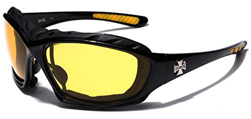 Oversized Choppers Men's Sport Padded Motorcycle Bikers Sunglasses BLACK MIDNIGHT YELLOW