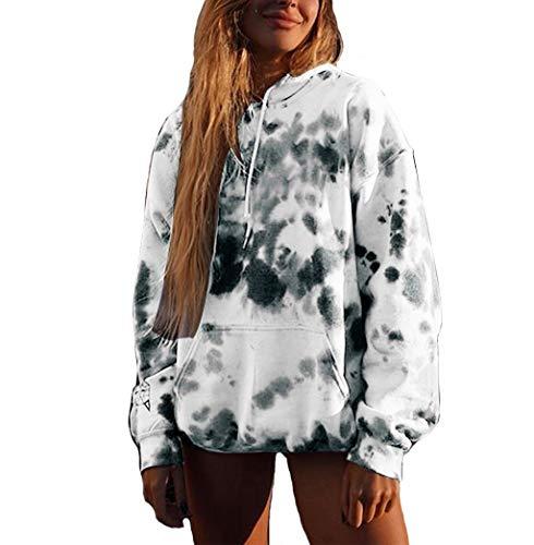 kaifongfu Women Long Sleeve Hoodie Pullover Print Pocket Sweatshirt Tie-Dyed Pocket Shirt White (Kleidung Kurze Frauen)