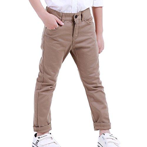 Everyday Tab Waist Pants (NABER Big Boys Husky Flat-Front Adjustable Waist Dressy Pants Size 4-13 Years (7-8 Years, Khaki))