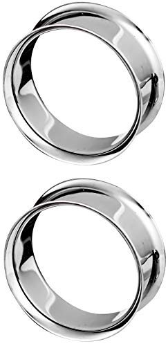 Forbidden Body Jewelry 2 Inch (51mm) Surgical Steel Mirror Finish Double Flared Tunnel Plug Earrings