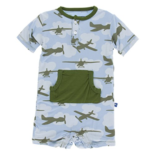 KicKee Pants Little Boys Print Kangaroo Romper - Pond Airplanes, 18-24 Months