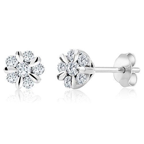 (18K Solid White Gold 0.312 Cttw White Diamond Flower Blossom Stud)