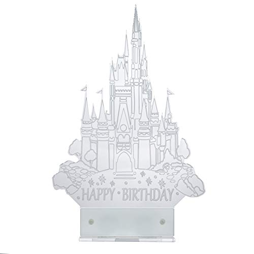Cinderella Castle Cake Topper inspired with LED light Happy Birthday (White) ()