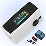 Pulse oximeter fingertip, Portable Blood Oxygen Saturation Monitor for Heart Rate and SpO2 Level, O2 Monitor Finger for Oxygen,Pulse Ox,Oximetro Include Carrying case,Lanyard and Batteries,White