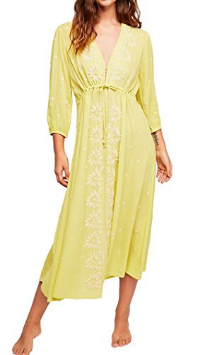 (R.Vivimos Womens Boho Floral Embroidered Casual Drawstring Tie Cotton Long Dresses (2XL, Yellow))