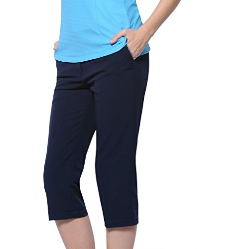 Monterey Club Ladies' Stretchable Capri with Contrast Trim #2869 (Navy, Size:12)