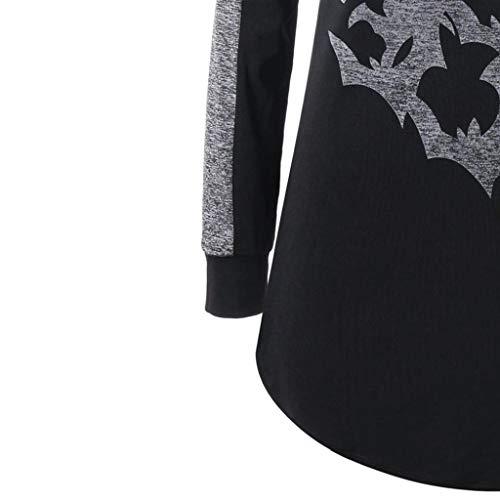 Capuche Party Manches Halloween Sweat Imprimer Noir Pull Chic Chemise Femmes Tops Blanche Trydoit Longues Bats Femme wH0BnS