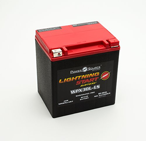 PowerSource 01-366P Lightning Start Red/Black 30Ah Battery (2007 Harley Davidson Road King Police Specifications)