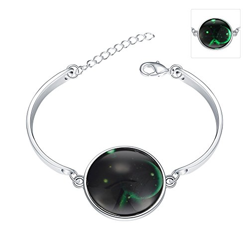 iCAREu Silver Plated Adjustable Bangle Bracelet with a Fluorescent Signs of The Zodiac Pendant, 8'(Sagittarius)