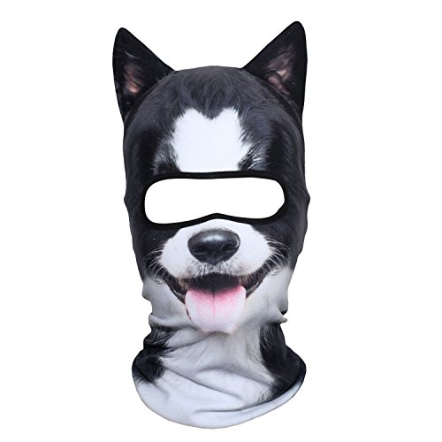 JIUSY 3D Animal Ears Fleece Thermal Hood Balaclava Neck Warmer Face Mask for Cold Weather Winter Outdoor Sport Motorcycle Cycling Riding Hunting Ski Snowboard Halloween Party Border Collie MDD-23 -