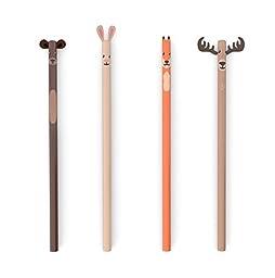 Kikkerland Woodland Pencils, Set of 4 (4347)