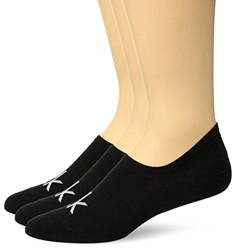 Calvin Klein Men's 3 Pair Logo Liner, Black, 7-12 Calvin Klein Knit Socks