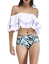 Women Fashion Ruffle Off Shoulder Bikinis Bandeau Swimwears 2 Pieces