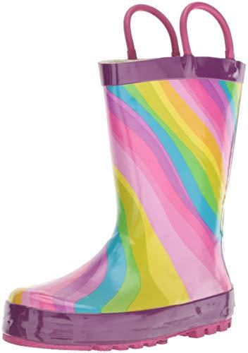 Waterproof Printed Rain Boot, Rainbow, 11/12 Medium US Little Kid ()