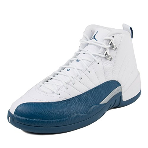 Jordan Men's Air 12 Retro, WHITE/FRNCH BLUE-METALLIC SILVER-VRST, 10.5 M US - Blue And White Retro Jordans
