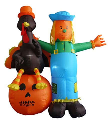 Outdoor Thanksgiving Decorations (6 Foot Thanksgiving Inflatable Scarecrow + Turkey +)