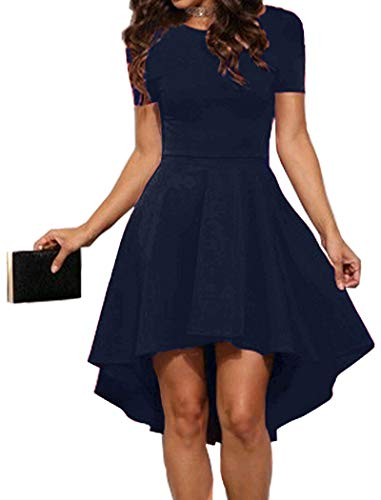 Halife Party Dresses for Juniors High Low Cocktail Party Prom Skater Graduation Dresses Navy Blue S