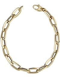 14k Yellow Gold 7 mm Fancy Oval Link Bracelet (7.5 or 8 inch)