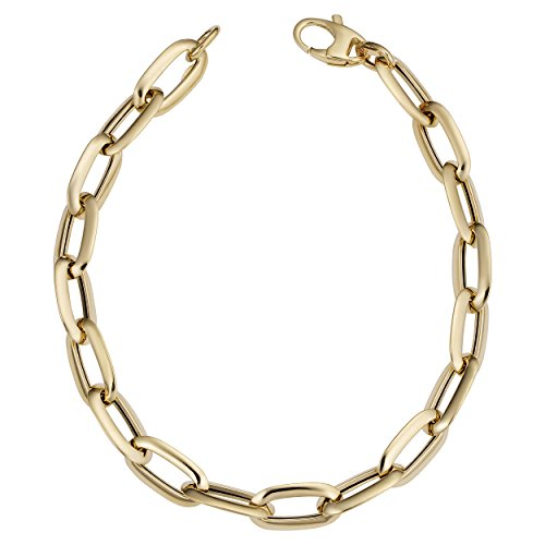 - 14k Yellow Gold Fancy Oval Link Bracelet (7mm, 8 inch)