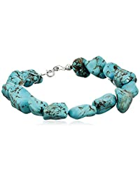 """Sterling Silver and Simulated Turquoise Nugget Bracelet, 7.5"""""""