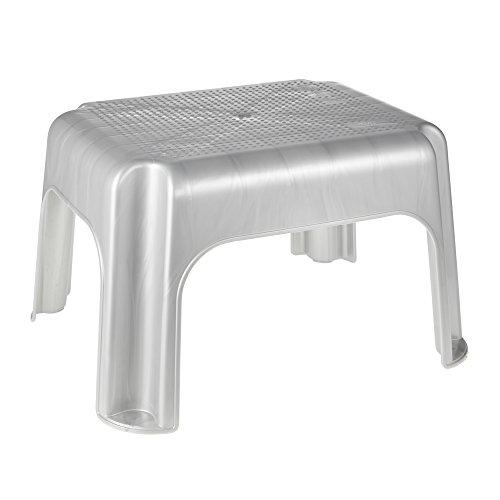 keeeper Taburete, Calidad y seguridad comprobada por TÜV, Plastico resistente (PP), 36,5 x 30 x 24cm, Tim, Plateado