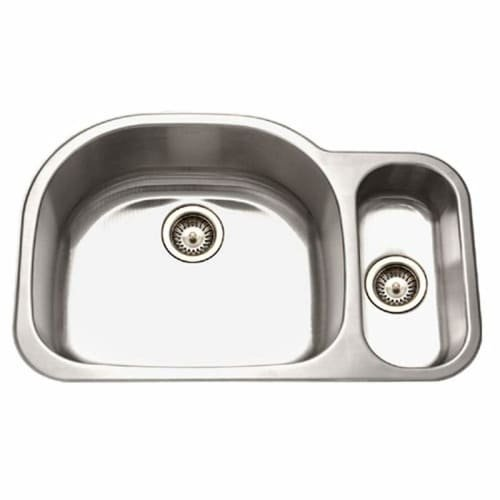 Medallion Designer Series Undermount Stainless Steel 70/30 Double Bowl Kitchen Sink, Small Bowl Right - Houzer MG-3209SR-1