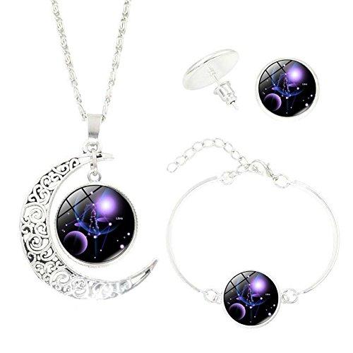 12 Constellation Zodiac Glass Cabochon Pendant Silver Chain Crescent Moon Necklace Stud Earrings Bracelet Bangle Set for Women's Jewelry (Libra) (Necklace Earrings Zodiac)