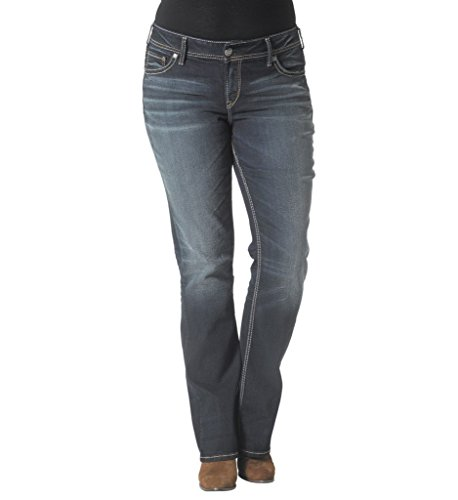 Silver Jeans Women Plus Suki Slim Boot Jeans Mid Rise Relaxed Hip/Thigh in Dark Blue (Slim Womens Jeans Boot)