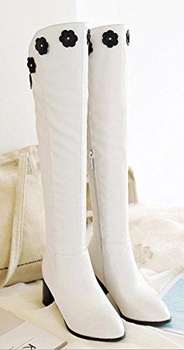 Aisun Womens Fashion Comfy Floreale Punta A Punta Laterale Abito Con Zip Chunky Medio Tacco Alto Ginocchio Stivali Alti Scarpe Bianche
