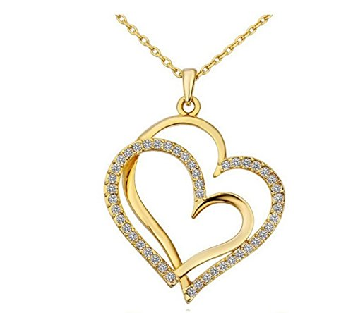 18K White Gold Inlay Sterling Silver Austrian Crystal Full Rhinestone Gold Double Heart Pendant Necklace Gift for Mom Wife Daughter Nana Aunt Sister for Christmas Birthday Anniversary Wedding