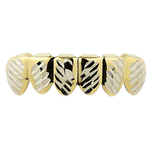 Assortment Grill (NIV'S BLING - 14k Yellow Gold-Plated Diamond Cut 6 Tooth Grillz Bottom)
