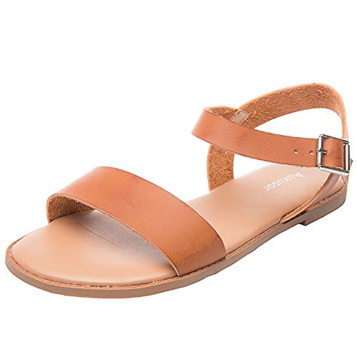 Women's Wide Summer Flat Sandals - Open Toe One Band Ankle Strap Flexible Shoes(180307 Brown,8)