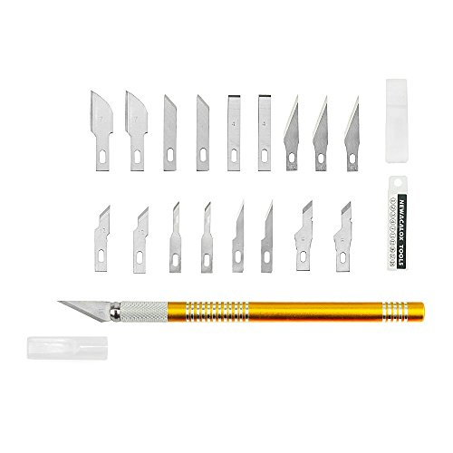 Precision Hobby Craft Knife With Safety Cap Stainless Steel Stencil, Fine Point, Scoring, Chiseling Blades, 19PCS Cutting Tool Set for Scrapbooking Sculptures Repair DIY Art Work Gold