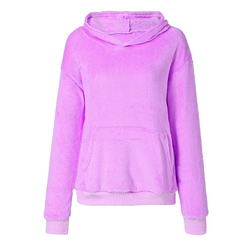 Clearance Deals! Women's Hooded Sweatshirt Coat Winter Warm Pocket Flannel Plush Sweater Top (L,Pink) - Colorblock Boxer Brief