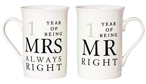 Ivory 1st Anniversary Mr Right amp Mrs Always Right Mug Gift Set by Happy Homewares