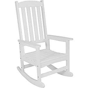 Sunnydaze All-Weather Rocking Chair with Faux Wood Design, White