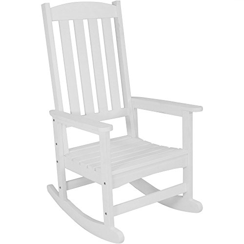 (Sunnydaze Outdoor Patio Rocking Chair, All-Weather Faux Wood Design, White)